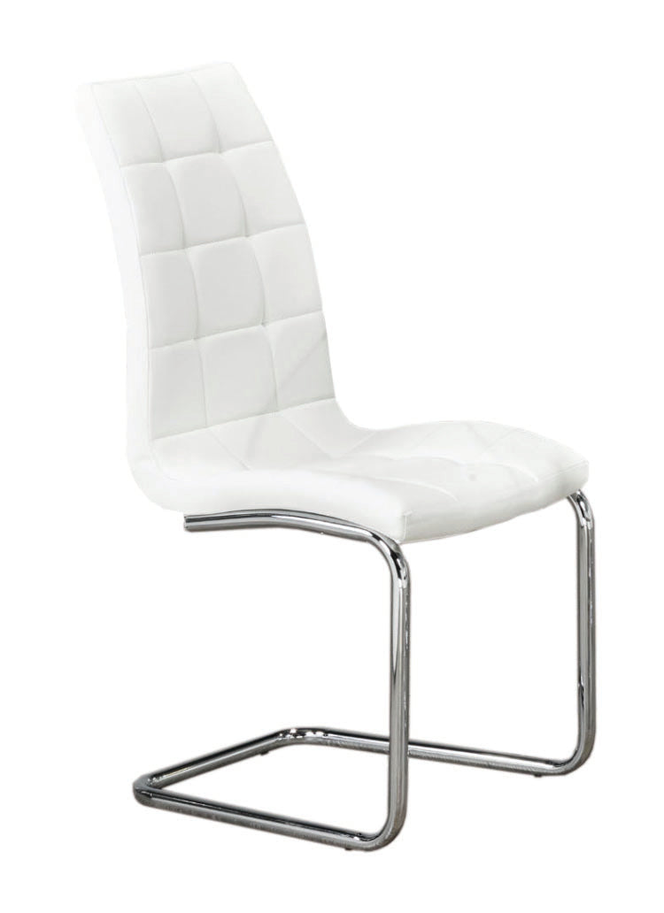 QFIF-1751 | Upholstered White With Chrome Legs Chair