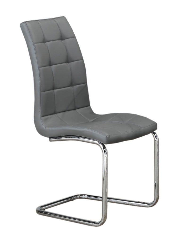 QFIF-1752 | Upholstered Grey With Chrome Legs Chair