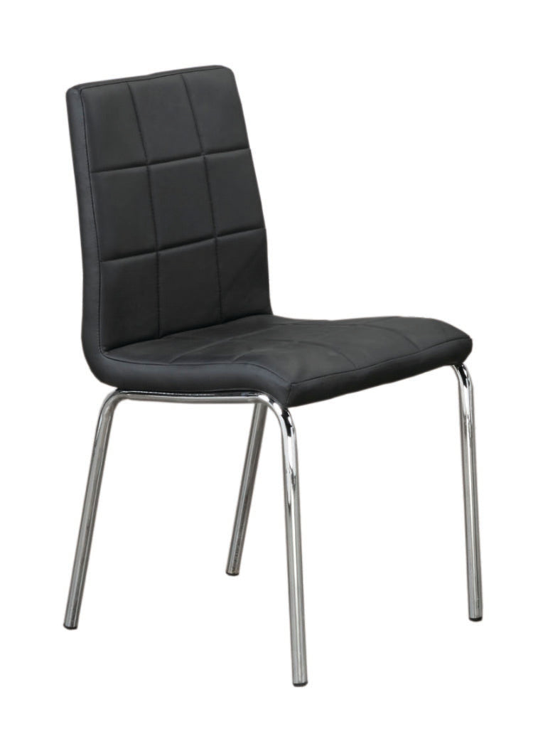 QFIF-1760 | Upholstered Black With Chrome Legs Chair