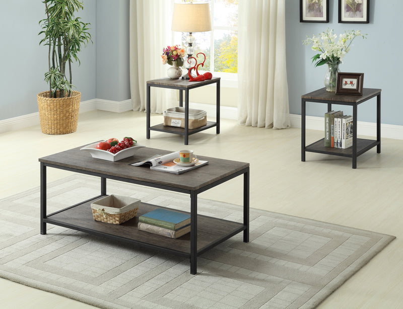 QFIF-2008 | Distressed Wooden Coffee Table Set with Metal Base