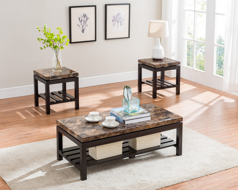 QFIF-2023 | 3pc Espresso Coffee Table Set with Light Brown Marble