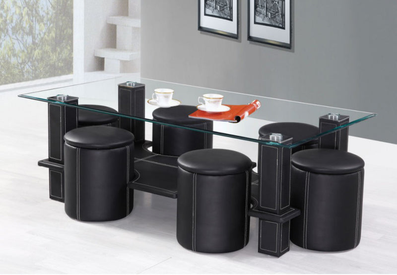 QFIF-2056 | Black Tempered Glass Coffee table set