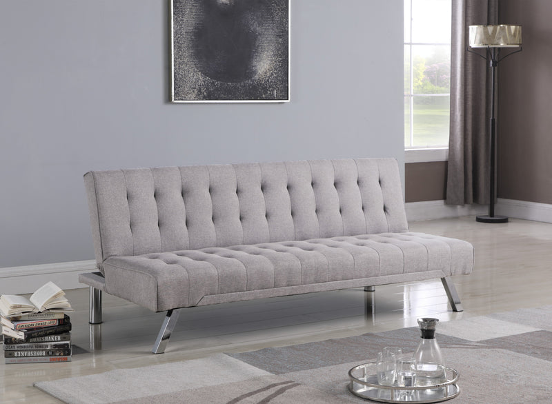 QFIF-343N | Grey Fabric with Chrome Legs Klick Klack Bed