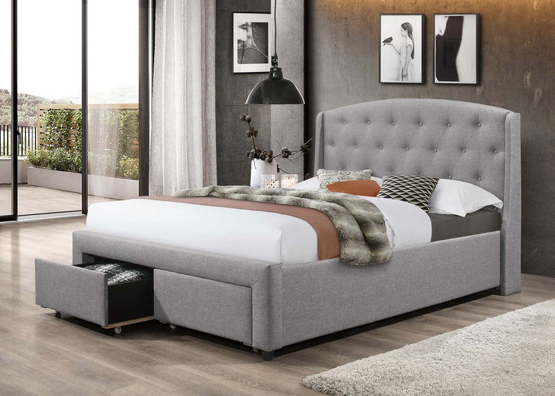 QFIF - 5290 | Dark Grey Fabric Bed With 2 Front Pull Out Drawers