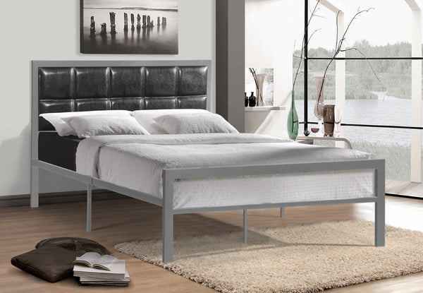 QFIF-5302 | Grey Metal Bed With a Padded Black Headboard