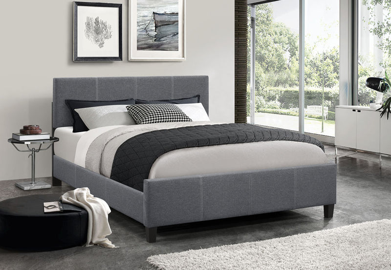 QFIF-5430 | Dark Grey Fabric Bed With Contrast Stitching