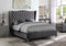 QFIF - 5520 | Grey Velvet Fabric Wing Back Bed