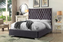 QFIF - 5540 | Grey Velvet Fabric with Deep Tufting Bed