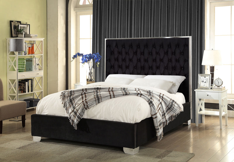 QFIF - 5542 | Black Velvet Fabric with Deep Tufting Bed