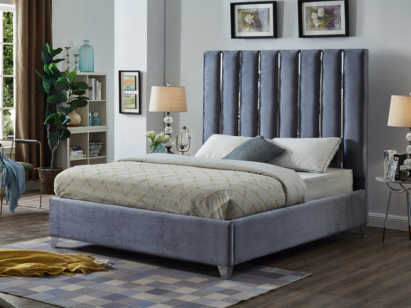 QFIF - 5620 | Chrome Channel Velvet Grey Fabric Upholstery Bed