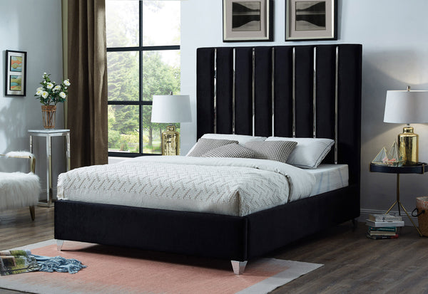 QFIF - 5621 | Chrome Channel Velvet Black Fabric Upholstery Bed