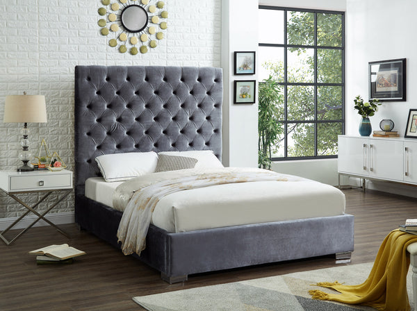 QFIF - 5630 | Grey Velvet Fabric with a Heavily Button Tufted Headboard Bed
