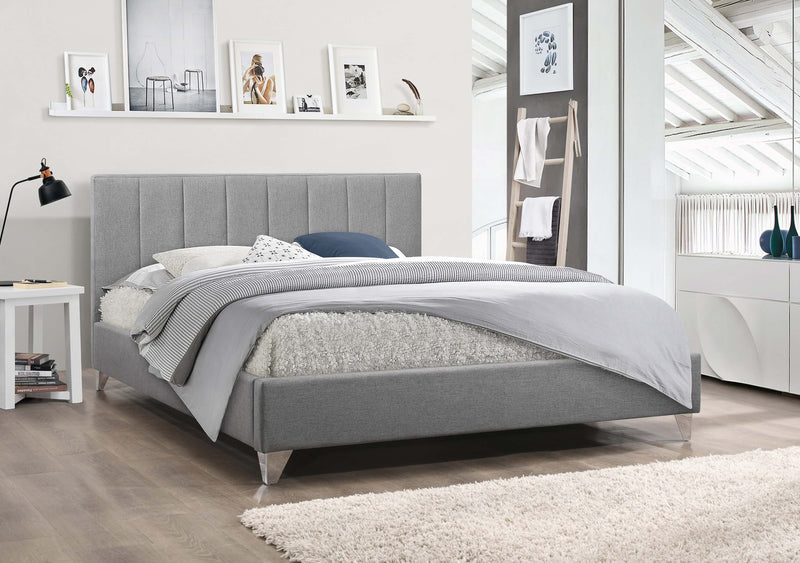 QFIF - 5715 | Grey Upholstered Bed with Chrome Legs