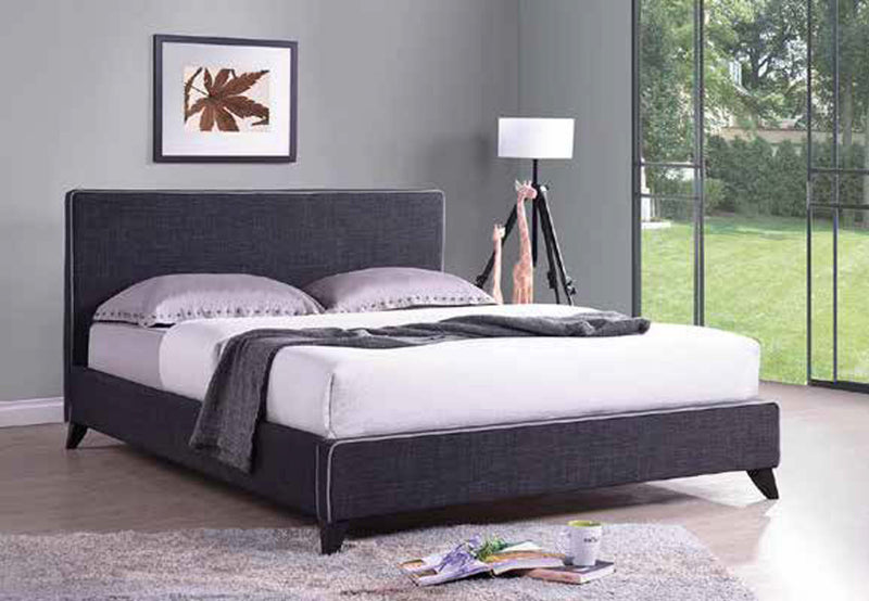 QFIF-5745 | Charcoal Fabric Bed With White Piping