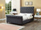QFIF - 5750 | Charcoal Fabric Sleigh Bed with Nailhead Details