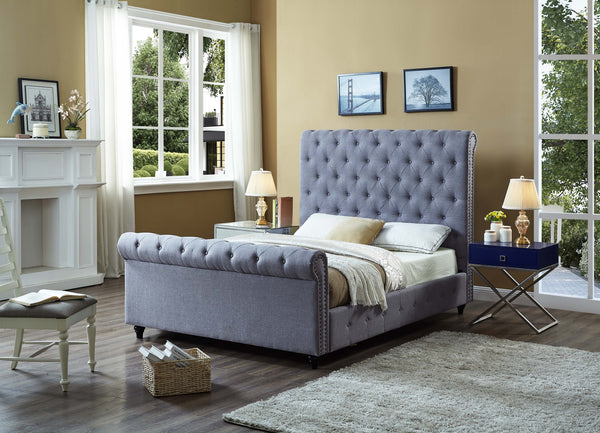 QFIF - 5755 | Grey Fabric Sleigh Bed With Nailhead Details