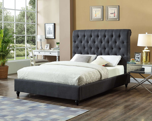 QFIF - 5760 | Charcoal Fabric Bed with Nailhead Details