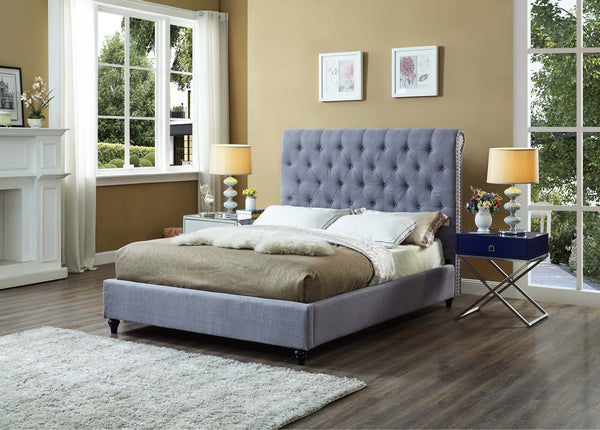 QFIF - 5765 | Grey Fabric Bed with Nailhead Details