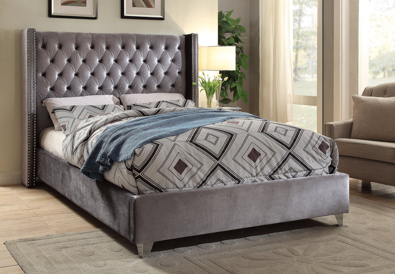 QFIF-5890 | Grey Velvet Fabric With Nailhead Details