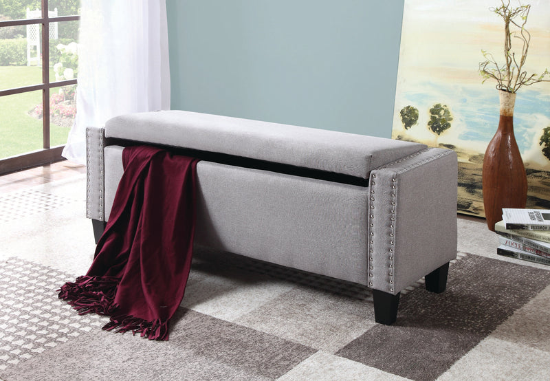 QFIF-6250 | Light Grey With Nail Heads Bench