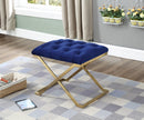 QFIF-6282 | Blue Velvet Fabric Bench with Gold Legs