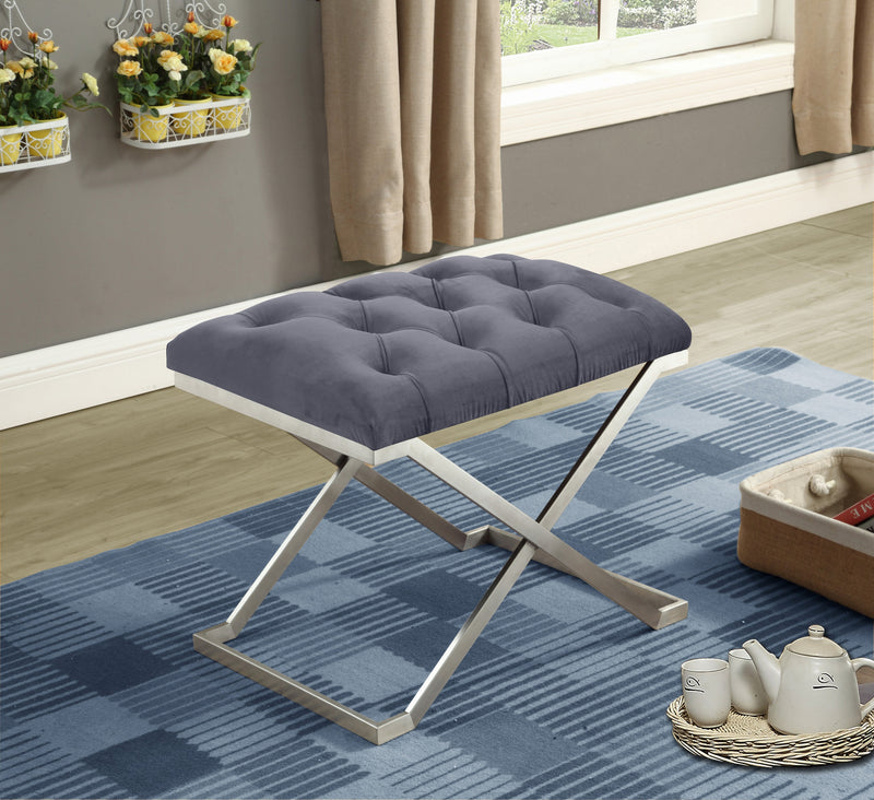QFIF-6290 | Grey Velvet Fabric Bench with Stainless Steel Legs