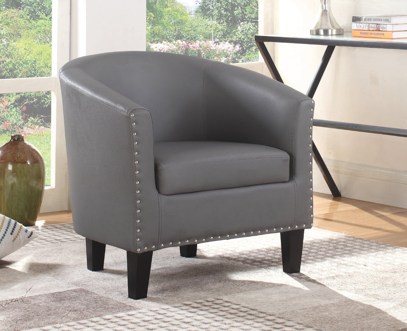 QFIF-6800 | Grey PU With Nail Heads Easy Chair