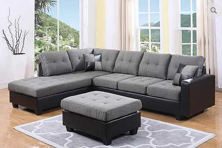 QFIF - 9435/ IF 9436 Sectional Sofa Reversible (Grey Fabric)