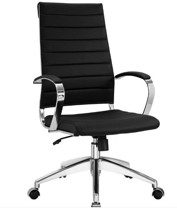 Modway Jive Ribbed High Back Executive Office Chair, Black