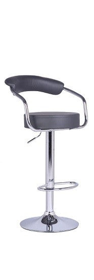 QFIF -7500-B | Adjustable Height Black Seat With Chrome Legs Bar Stool