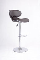 QFIF - ST-7701 | Adjustable Height Espresso Seats With Chrome Legs Bar Stool