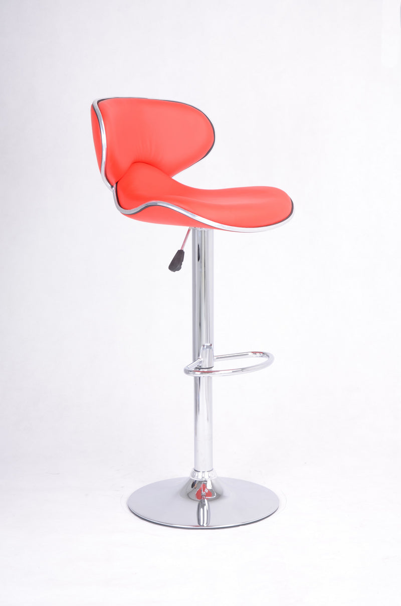 QFIF - ST-7702 | Adjustable Height Red Seats With Chrome Legs Bar Stools