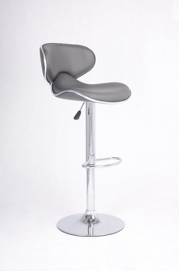 QFIF - ST-7704 | Adjustable Height Grey Seats With Chrome Legs Bar Stool