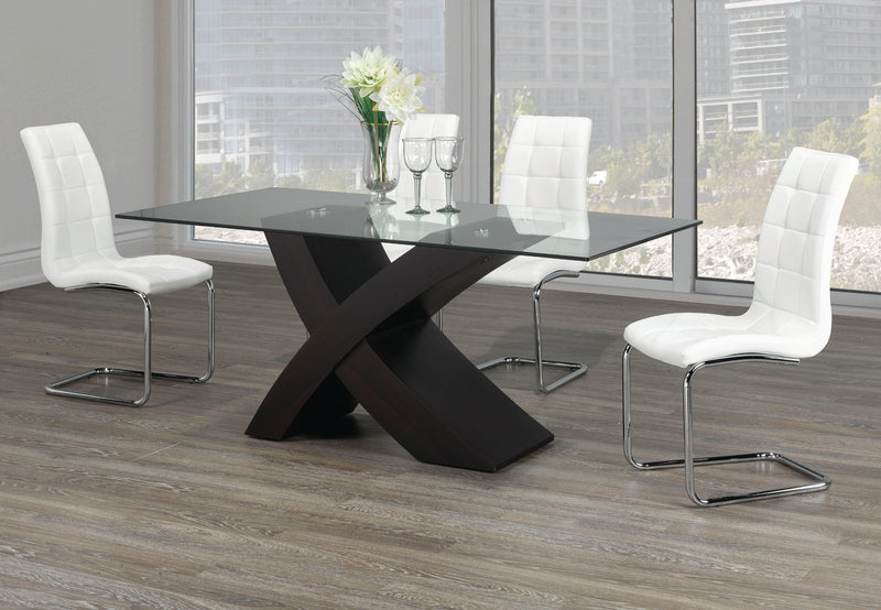 TST-1092 TSC-1751 | Tempered Glass Table With an 'X' Shape & Espresso Base Dining Set