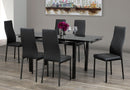 TST-1515 C-5059/C-5061 | Adjustable 8mm Tempered Black Glass Table  Dining Set