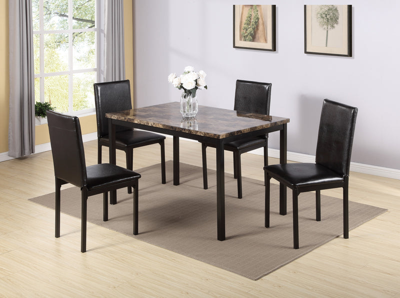 QFIF - 1520 | Light Brown Marble Table Top with Black Metal Legs Dining Set