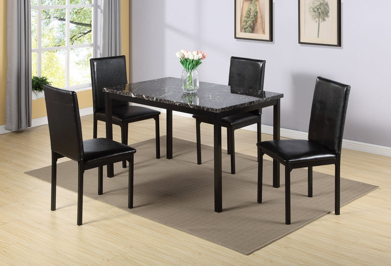 QFIF - 1522 | Dark Brown Marble Table Top with Black Metal Legs Dining Set