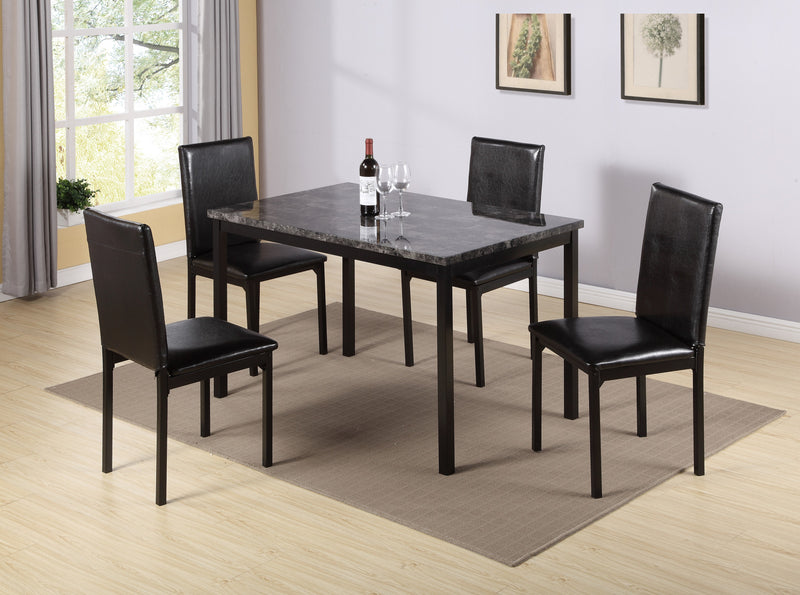 QFIF - 1524 | Dark Grey Marble Table Top with Black Metal Legs Dining Set