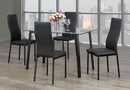 QFIF-5058 C-5059 | Tempered Clear Glass With Black Legs Dining Set