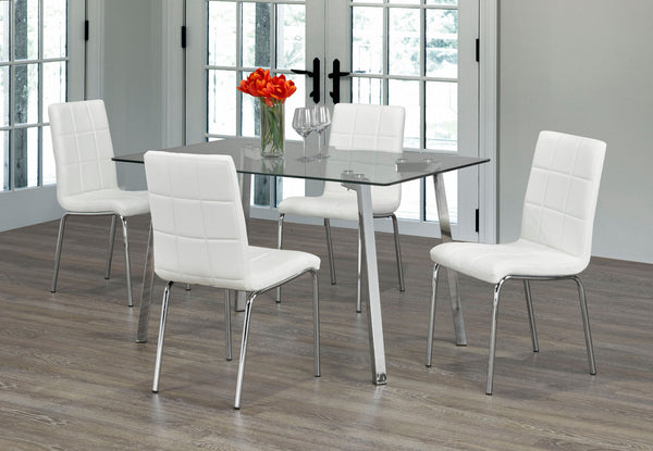 QFIF-5065 C-1761 | Tempered Clear Glass with Chrome Legs Dining Set