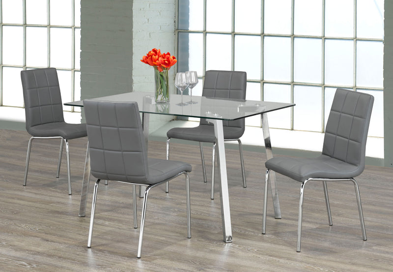 QFIF-5065 C-1762 | Tempered Clear Glass with Chrome Legs Dining Set
