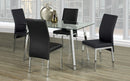 QFIF-5065 C-5063 | Tempered Clear Glass with Chrome Legs Dining Set