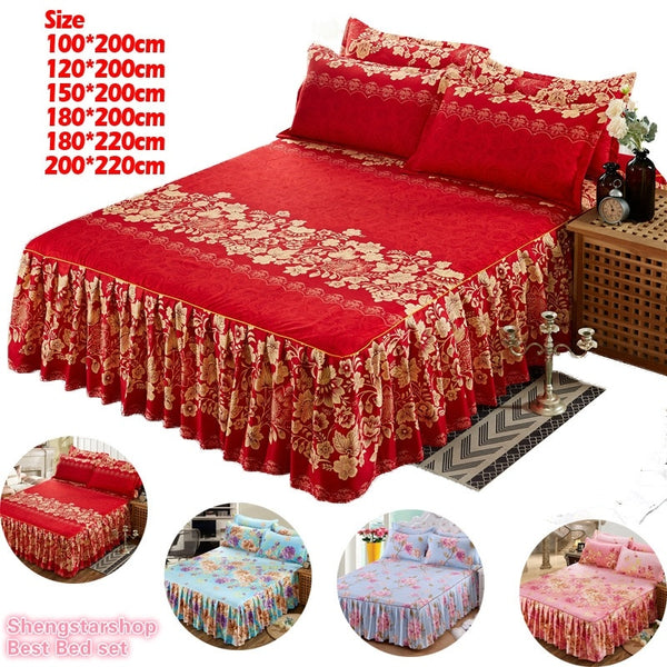 Flower Style Warm Sanding Thickened Pillow Case Bed Skirt  Bed Cover Fitted Sheet Single/Twin/full Queen/King Bed Skirt Dust Ruf