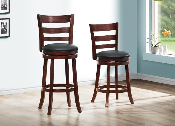 QFMZ-1144E | Dark Cherry Finish Swivel Bar Stool