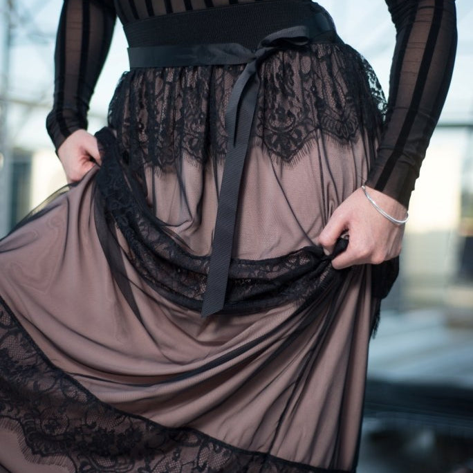 Skirt maxi layered lace