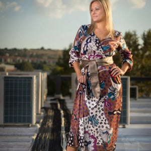 Dress maxi wrap floral animal print