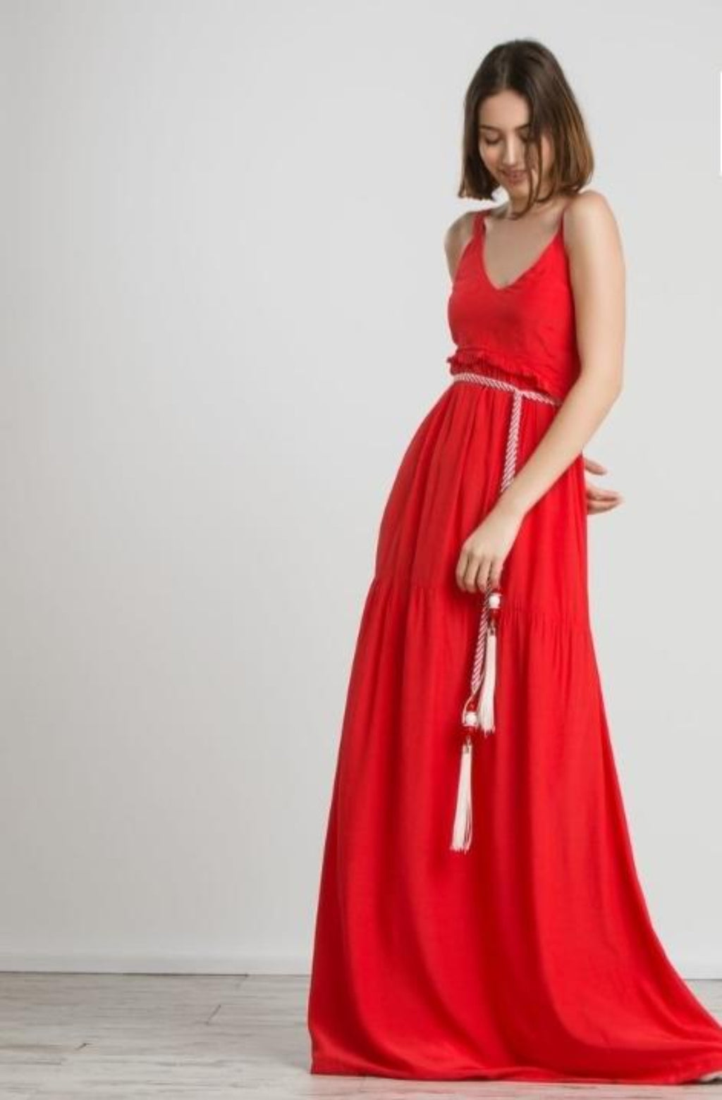 Dress maxi stripe belt