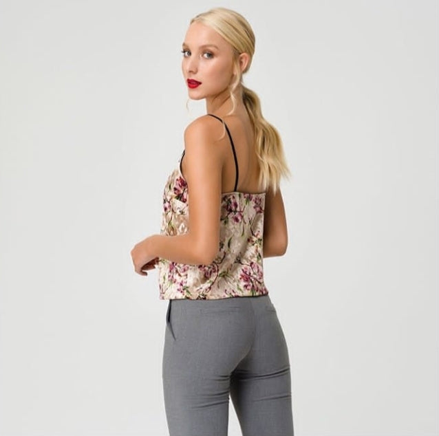 Top cami floral velvet lace trim