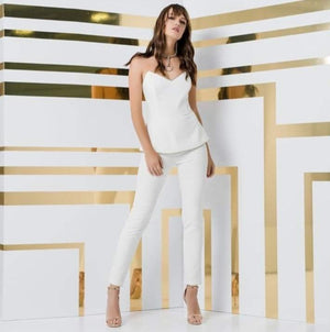 Jumpsuit boobtube peplim diamante trim