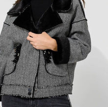 Load image into Gallery viewer, Herringbone Fur Jacket